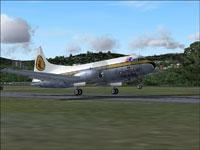 Screenshot of Caribair Convair CV-340 taking off.