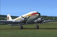 Screenshot of Caribair Douglas DC-3 on the ground.