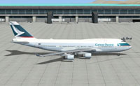 Side view of Cathay Pacific Airways Boeing 747-400 on the ground.