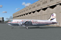Side view of Cathay Pacific Airways DC-4 on the ground.