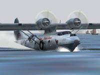 Screenshot of Cathay Pacific Consolidated PBY-5A landing on the water.