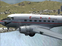 Colse up of Cathay Pacific Douglas DC-3 in flight.