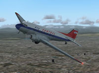 Screenshot of Central Airlines Douglas DC-3 in flight.