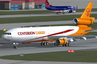 Screenshot of Centurion Cargo McDonnell Douglas MD-11F on runway.