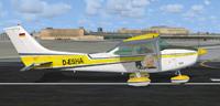 Screenshot of Cessna 182 D-ESHA on runway.