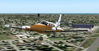 Screenshot of Cessna 303 in flight.