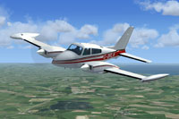 Screenshot of Cessna 310Q in flight.