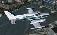 Screenshot of Cessna 402A Utilifreighter flying over The River Thames.
