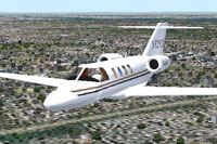 Screenshot of Cessna 525 CitationJet in flight.