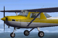 Screenshot of yellow and white Cessna C152II in the air.