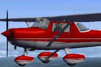 Screenshot of red Cessna C152II in the air.