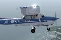 Screenshot of Cessna C172 Skyhawk OO-HBR in flight.