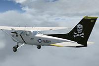 Rear left view of Cessna C172N Skyhawk II in the air.