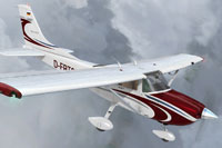 Screenshot of Cessna C182T Skylane in flight.