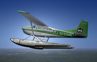 Screenshot of Cessna C185F Float Plane in flight.