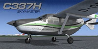 Screenshot of a white and grey Cessna C337 Skymaster with green pinstripe.