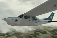 Screenshot of Cessna Centurion C210T in flight.