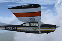 Side view of Cessna Skylane C182 RG II in the air.