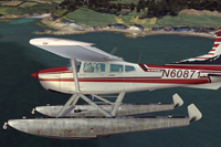 Screenshot of Cessna Skywagon C185F Amphibian N60871 in the air.
