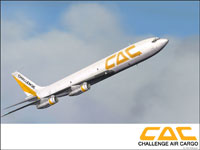 Screenshot of Challenge Air Cargo Boeing 707-330C in flight.