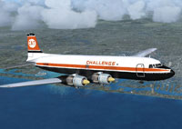 Screenshot of Challenge Air Transport Douglas DC-6A in flight.