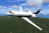 Screenshot of Challenger 300 M-OZZA in flight.