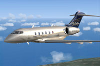 Screenshot of Challenger 300 N300BZ in flight.