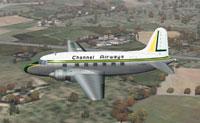 Screenshot of Channel Airways Vickers Viking in flight.