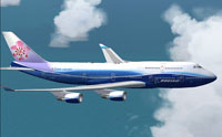 Screenshot of China Airlines Boeing 747-409ER in flight.