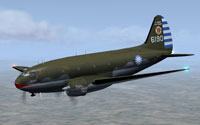 Screenshot of Chinese Air Force Curtiss C-46A in flight.