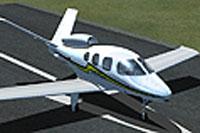 Screenshot of Cirrus SF50 Vision on runway.
