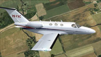 Screenshot of Citation 510 Mustang PR-FAC in the air.