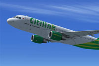 Screenshot of Citilink Airbus A320 in flight.