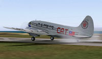 Screenshot of Civil Air Transport Curtiss C-46 on runway.