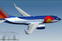 Screenshot of Southwest Airlines 'Colorado One' Boeing 737-700W in flight.