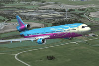 Screenshot of a blue and purple MD-11 in flight.