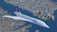 Screenshot of Concorde in flight.