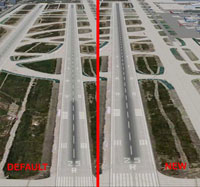 Screenshot of KLAX Runway 25 with deafult (left) and new textures (right).
