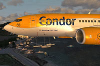 "Screenshot of Condor ""Flugdienst"" Boeing 737-700 NGX in flight."