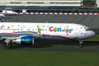 Screenshot of Condor Heart of Children Boeing 767-300 on the ground.