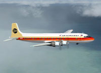 Screenshot of Continental/Air Micronesia DC-6A in flight.