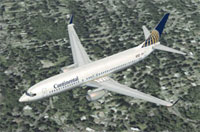 Screenshot of Continental Airlines Boeing 737-800 in flight.