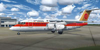 Screenshot of Continental Express BAe 146-200 on the ground.