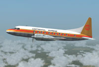 Screenshot of Continental Express Convair 580 in the air.