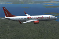 Screenshot of Corendon Dutch Airlines Boeing 737-800 in flight.