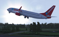 Screenshot of Corendon Dutch Airlines Boeing 737-800NGX taking off.