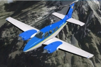 Screenshot of Cub'X Airlines Beechcraft Baron in flight.