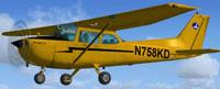 Screenshot of Cub yellow Cessna 172 N758KD in flight.