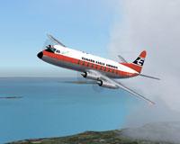 Screenshot of Cunard Eagle Ariways Viscount 707 in flight.