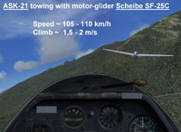 Screenshot taken from the cockpit of a glider in flight.
